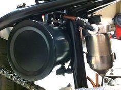 Harley Bobber Oil Tank-Oil Filter-Copper Lines-3