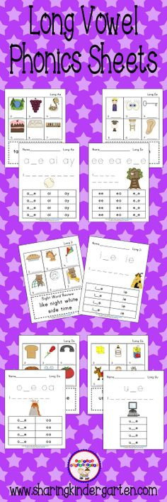 Long vowel freebie phonics sheets Know and apply grade-level points and word analysis skills in decoding words. Teaching Phonics, Kindergarten Literacy, Teaching Reading, Teaching Tools, Kindergarten Pictures, Preschool, Vowel Activities, Literacy Activities, Literacy Centers