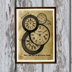 Antique watches print Old looking Antiqued decoration by artkurka
