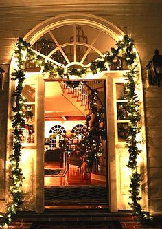 Lisa's front door decorated for Christmas