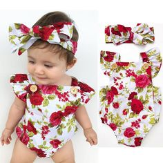 Newborn Infant Baby Girl Floral Bodysuit Romper Jumpsuit Clothes Outfits 0-18Mon