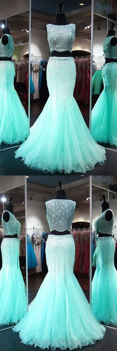 Homecoming Dresses 2018 Beautiful Mermaid Formal Dresses, Scoop Neck Lace Evening Gowns, Tulle Long Party Dresses, Beading Two Piece Prom Dresses, Blue Homecoming Dresses Blue Homecoming Dresses, Prom Dresses For Teens, Prom Dresses 2018, A Line Prom Dresses, Mermaid Prom Dresses, Cheap Prom Dresses, Formal Dresses, Formal Wear, Dress Prom
