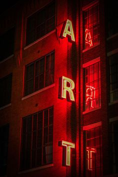 ART sign, red neon lights, reflection, large windows, urban, city photography, art school, art print, the word art