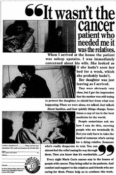 Marie Curie Cancer Care. 5 December, 1990 Frm bd: Old charity ads