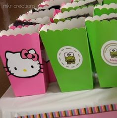 "Love theses, can order the ""popcorn containers"" from Oriental trading and then make the hello kitty and keropy stickers myself (maybe use as goody bags)"
