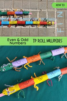Make these adorable millipedes from tp rolls and have fun learning even and odd numbers while playing games. Fun learning indeed! Number Sense Activities, Preschool Math Games, Math Activities For Kids, Maths Puzzles, Math For Kids, Creative Activities, Hands On Activities, Busy Kids, Nature Activities