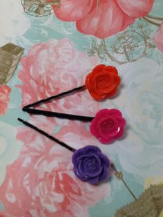 Booby pin set of 3, in orange, hot pink, and lavender hair pin bobby pin hair accessories, bobby pink lot, girls hair accessories, by VittysPretties on Etsy