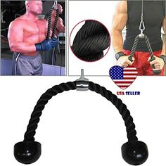 Sport Arm Rope Tricep Multi Gym Cable Ph Up Pull Down Press Bar Attachment #triceps