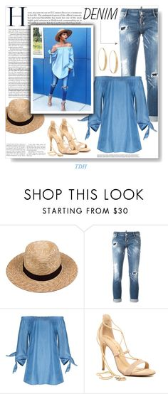 """""""DENIM"""" by talvadh ❤ liked on Polyvore featuring Lack of Color, Dsquared2, Chinese Laundry, Lana, denim, jeans, rippedjeans, denimshirt and offshoulder"""