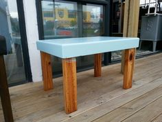 Funky side table pine legs baby blue top $59
