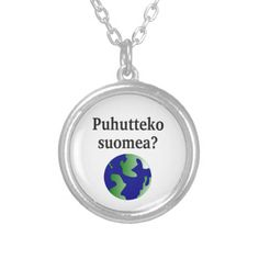 Shop Do you speak Finnish? in Finnish. With globe Silver Plated Necklace created by Parleremo. Finnish Language, Globe Pendant, Black Felt, Dog Tag Necklace, Silver Plate, Goodies, Pendants, How To Make, Gifts