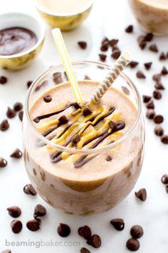 Chocolate Peanut Butter Banana Smoothie (Vegan, Gluten Free) - Beaming Baker