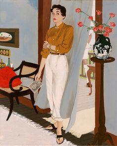 """Woman standing in doorway, holding photograph"" - Al Parker ""How strange, Vida thought, that they had not heard his step"" Story illustration: ""House Without Doors"", author: Dorothy Black, Ladies' Home Journal, 1954, p. 43"