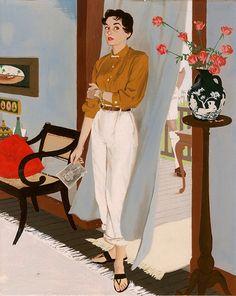 """Woman standing in doorway, holding photograph"" – Al Parker ""How strange, Vida… – Art Stroy Retro Poster, Vintage Posters, Vintage Art, Retro Kunst, Retro Art, Magazine Illustration, Illustration Art, Retro Illustrations, American Retro"
