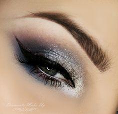 Grey and Silver glitter eyeshadow #smokey #dark #glitter #bold #eye #makeup #eyes #dramatic