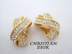 Christian Dior Earrings  Pave Rhinestone  by VintagObsessions