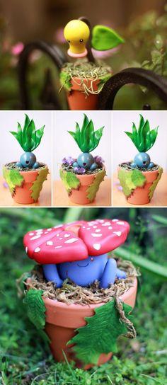 Pokemon Planters | Fairy garden, plants | bellsprout, Oddish, Vileplume | Grass pokemon figures | geek home decor | cute