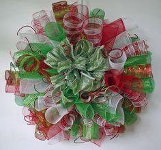 Custom Spiral Mesh Christmas Wreath - Custom Christmas Wreath, Custom Curled Deco Poly Mesh 28 Inch Christmas Wreath. $70.00, via Etsy.