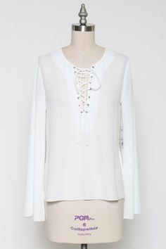 Long Sleeves Lace Up Blouse - White