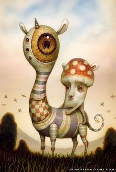 Surrealist paintings, so much fun and so much imagination! from: A mushroom man rides a bizarre animal in this surrealist painting by Naoto Hattori<br> Creepy Art, Weird Art, Art And Illustration, Painting Illustrations, Portrait Illustration, Fashion Illustrations, Fantasy Kunst, Fantasy Art, Bizarre Animals