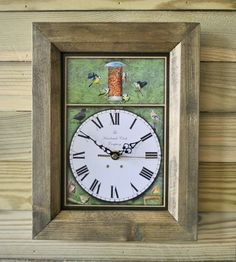 The Handmade Furniture Company Rustic Garden Birds Handmade Wooden Wall Clock, £19.99