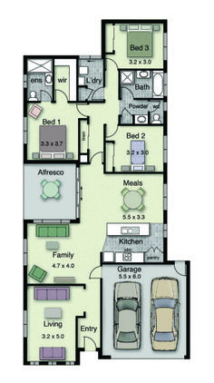 With over 90 flexible standard home designs available, we have floor plans that can be modified to suit most, if not all, clients. Cottage Style House Plans, Bungalow House Plans, Dream House Plans, Narrow House Plans, Modern House Floor Plans, Architectural Design House Plans, Architect Design, Hotondo Homes, Home Map Design