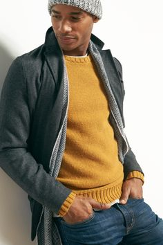 We can't get enough of this mustard-colored, textured crew-neck sweater. An added bonus? It goes with everything. Men, if you don't have this sweater in your closet, it's time for a trip to Old Navy.