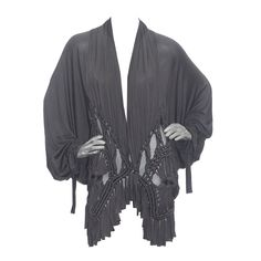 Christian Dior Macramé Silk Batwing Cardigan c. 2003   From a collection of rare vintage sweaters at https://www.1stdibs.com/fashion/clothing/sweaters/