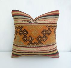 Orange Kilim Pillow cover made with a vintage by SophiesBazaar, $48.00