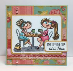 Coffee and Friends and One Cup at a Time stamp sets. Card by Danielle Vincent