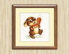 Cross Stitch Pattern PDF  Funny bunny Baby gift brown pattern for embroidery Hand Made pattern Bunny nursery decor Bunny with carrot