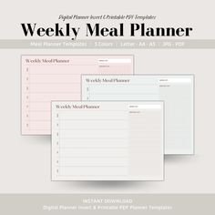 Weekly Meal Planner, Digital Planner Insert, Printable Meal Planner, Goodnotes Planner Insert, Minimal Planner Templates Meal Planner Template, Meal Planner Printable, Weekly Meal Planner, Printables, Cooking Cream, Family Meal Planning, Competitor Analysis, Planner Inserts, Meals For The Week