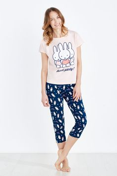Womensecret Pijama capri de algodón 'Pool party' de Miffy morado