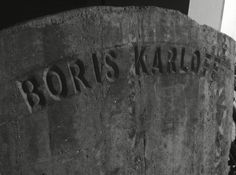"Another set piece for ""Karloff Lives"", a headstone for his fictional resting place in Hollywood Forever Cemetery.  Artistic license overlooks that his final resting place is in England and he was cremated. This headstone was full size and measured 4' X 6'."