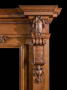 A Grand Walnut Victorian Fireplace Mantel Victorian Fireplace Mantels, Wooden Fireplace, Home Fireplace, Fireplace Surrounds, Fireplaces, Door Gate Design, Wooden Door Design, Wooden Doors, Acanthus