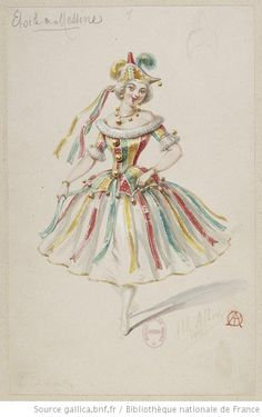 Costume sketch for the ballet L'étoile de Messine by Alfred Albert. 1861. source: gallica.bnfr.fr