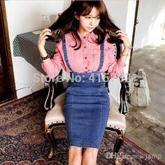 Denim Skirt - Pencil with suspenders