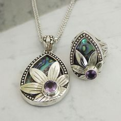 FOR THE INNER FLOWER CHILD STERLING SILVER AMETHYST MOTHER OF PEARL TEARDROP PENDANT & RING