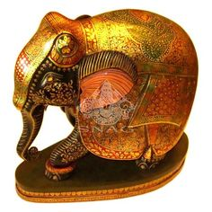WOODEN ELEPHANT VERY FINE GOLD PAINTING HOME DÉCOR 26X28 CMS