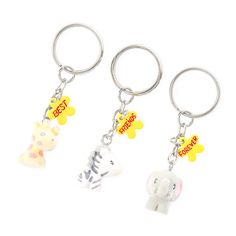 Best Friends Forever Fuzzy Zoo Animals Keychains Set of 3 | Claire's CA