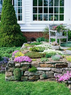 Shows the versatility of a rock garden. I would like to do this instead of mulch. Put down rocks and sprinkle with succulents. Or in a shade garden, use moss :-)