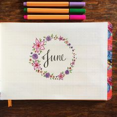 June wreath #june #monthlywreath #titlepage #bulletjournal #bujo #bujomonthly #landscapebulletjournal