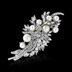 Pearl diamante wedding hair comb   eBay