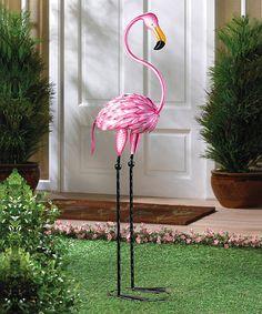 So Pretty in Pink Flamingo Standing Metal Art Garden Patio