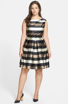 This is the perfect holiday dress! Eliza J - Stripe Metallic Fit & Flare Dress (Plus Size) #plussize #dress #plussizedress