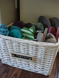 closet storage! (flip flops totally don't need to take up space on shoe racks.) Could work for flats too