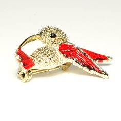 Vintage Signed Boucher Gold Tone Hummingbird Brooch Scatter Pin with Red Enamel Wings Beautiful Figural