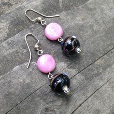 Pink and Black Lampwork Glass Bead Earrings by TripIntoLight, $6.00