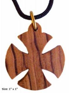 Olive Wood Circled Cross Pendant Necklace Holy Land Jewelry