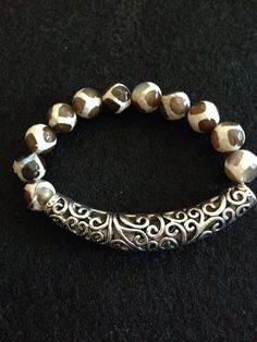 Giraffe agate and tibetian silver tube bead great for stacking on Etsy, $50.00